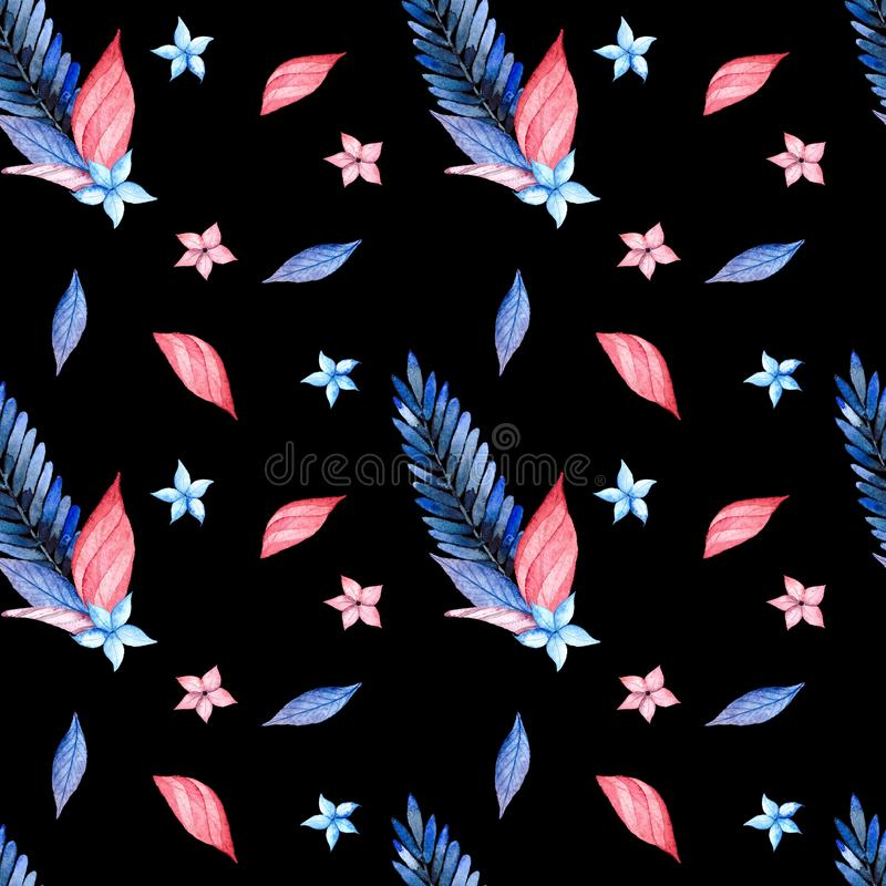 Modelo inconsútil, rosa y hojas azules ilustración del vector