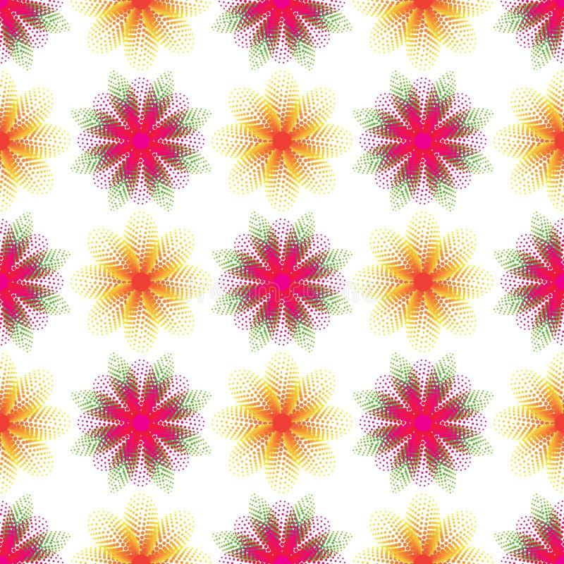 Modelo inconsútil rosado amarillo de la simetría de semitono del punto de la hoja de la flor ilustración del vector