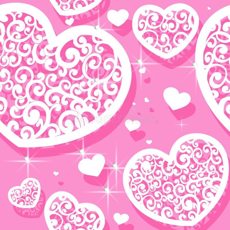 Modelo inconsútil rosado de appliques de los corazones Valen ilustración del vector