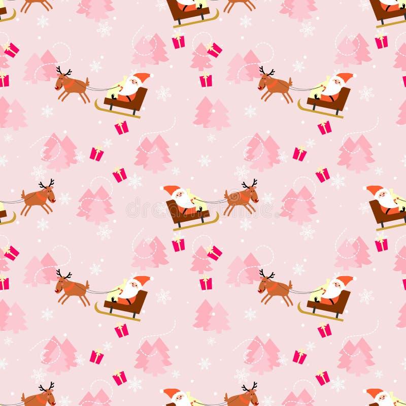 Modelo inconsútil rosado de la Navidad y de Papá Noel stock de ilustración