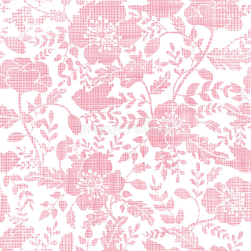 Modelo inconsútil rosado de los pájaros y de las flores de la materia textil libre illustration