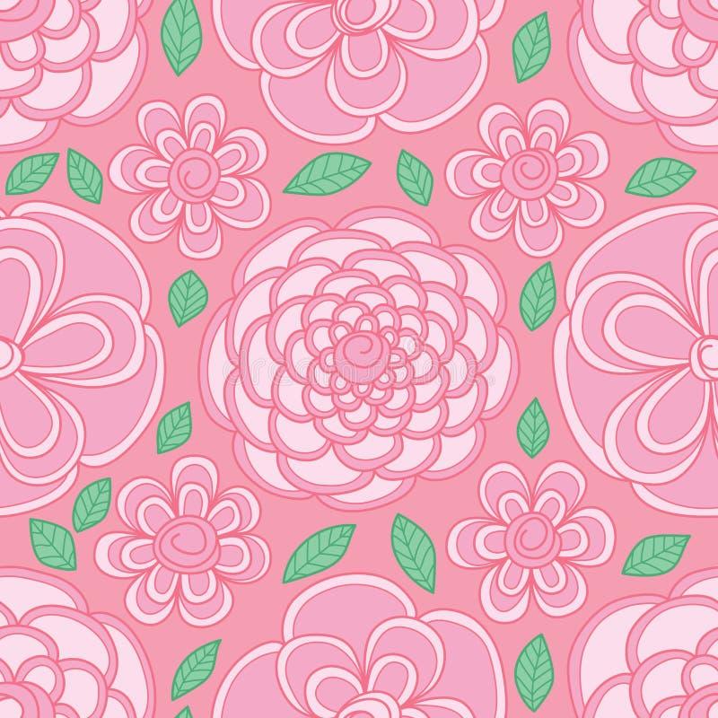 Modelo inconsútil rosado en colores pastel visible del color de la forma del círculo de la flor ilustración del vector