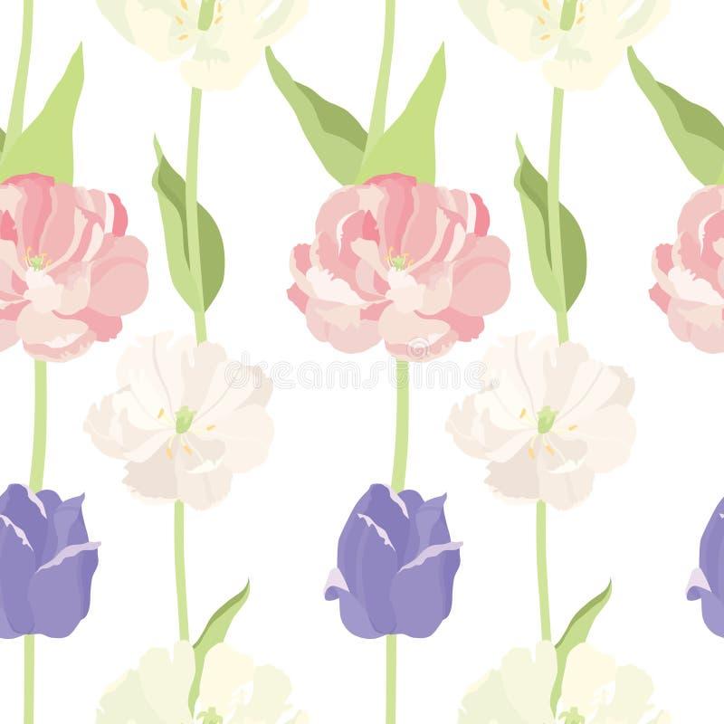 Modelo inconsútil rosado y de la lila de los tulipanes stock de ilustración
