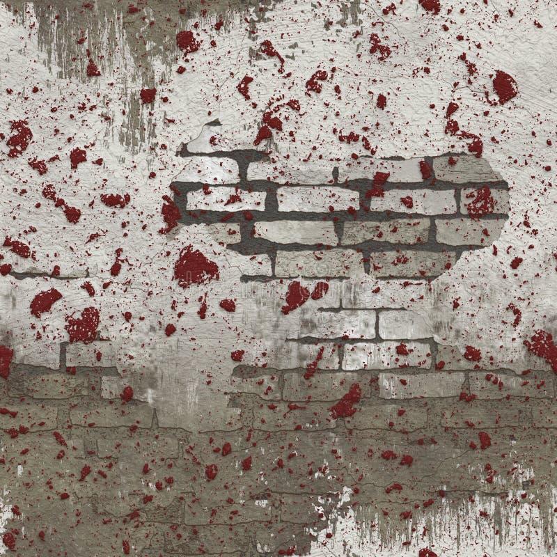 Modelo inconsútil salpicado rojo blanco de la pared de ladrillo ilustración del vector