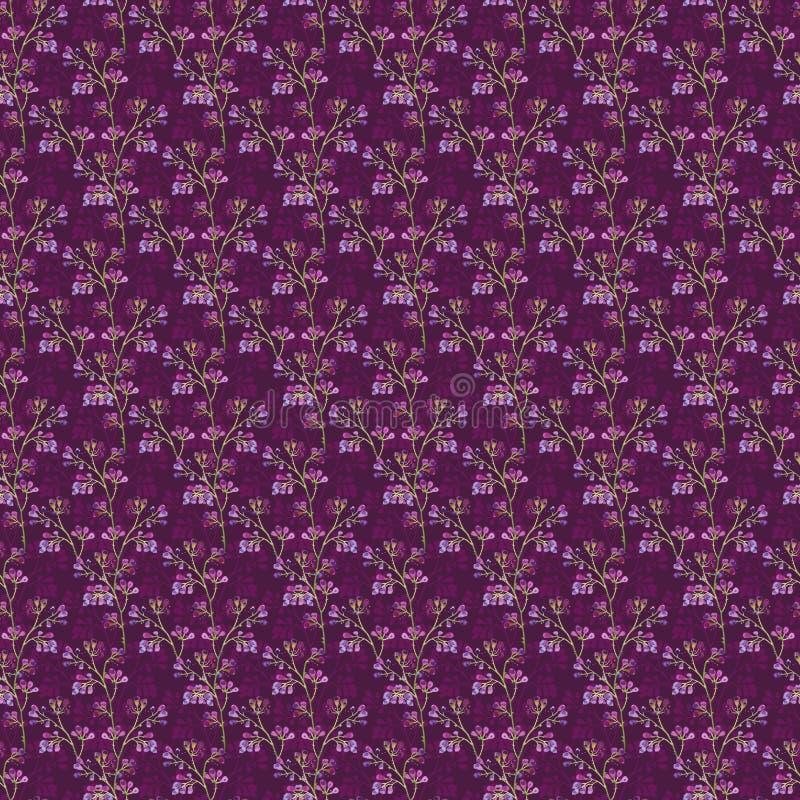 Modelo inconsútil, silueta de bayas púrpuras en ramas en un fondo rosado de Borgoña fotografía de archivo
