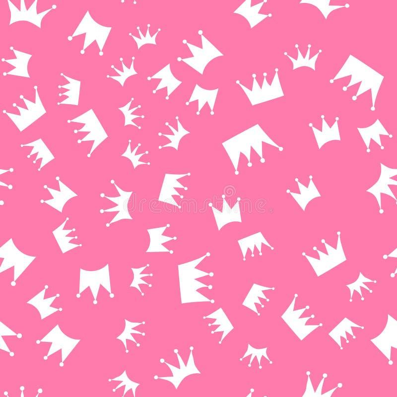Modelo inconsútil siluetas blancas de coronas en un fondo rosado ilustración del vector