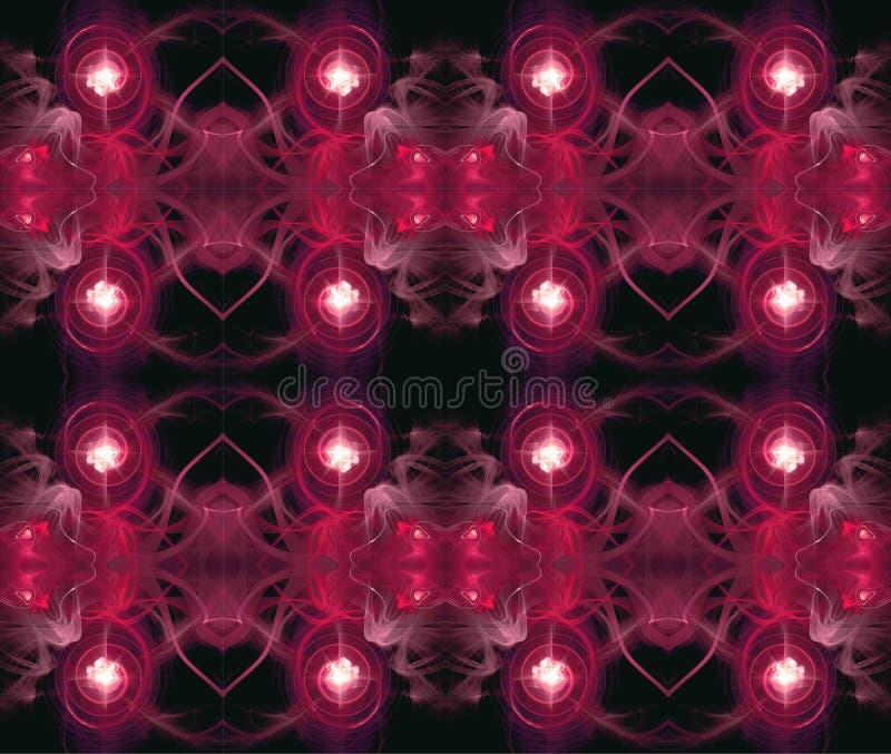 Modelo inconsútil simétrico Abstracción del fractal El brillar intensamente de centro alrededor de qué espirales y ondas stock de ilustración