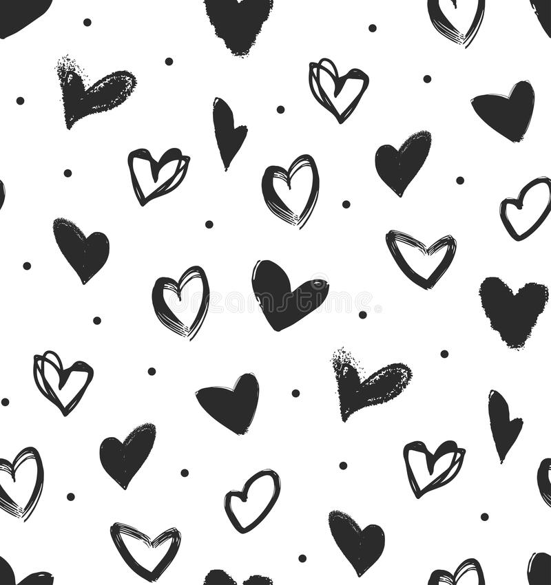 modelo inconsútil simple con los corazones negros libre illustration