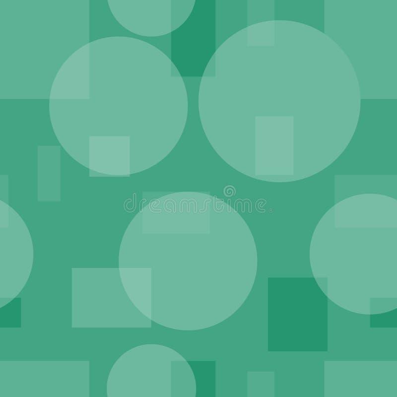 Modelo inconsútil simple de círculos y de rectángulos Fondo retro verde ilustración del vector