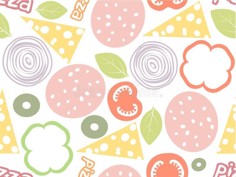 Modelo inconsútil simple de los ingredientes de la pizza Fondo blanco con diverso salami del color, queso, seta, aceituna, albaha ilustración del vector