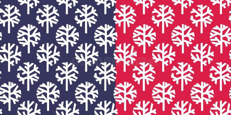 Modelo inconsútil simple del árbol desnudo del invierno ilustración del vector