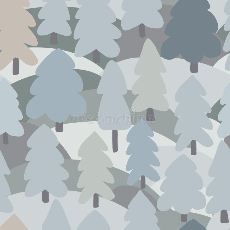 Modelo inconsútil simple del árbol forestal Fondo del paisaje del bosque del garabato ilustración del vector