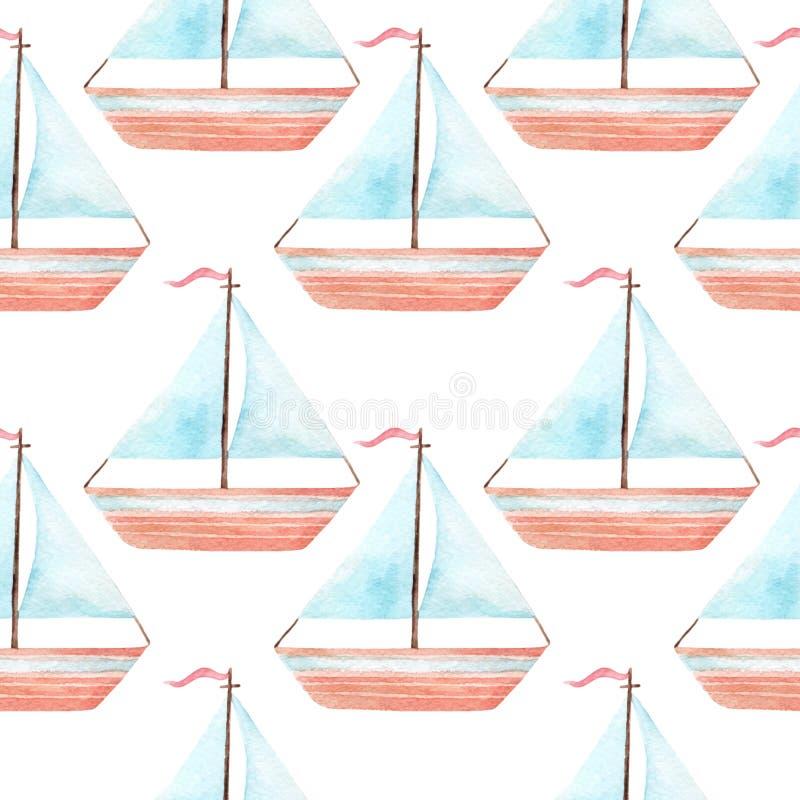 Modelo inconsútil simple del barco de vela del juguete de la acuarela ilustración del vector