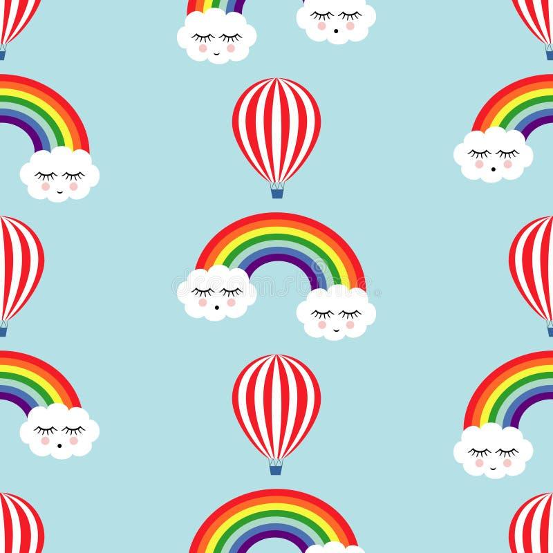 Modelo inconsútil sonriente de las nubes, de los arco iris y del aire caliente de los globos el dormir ilustración del vector