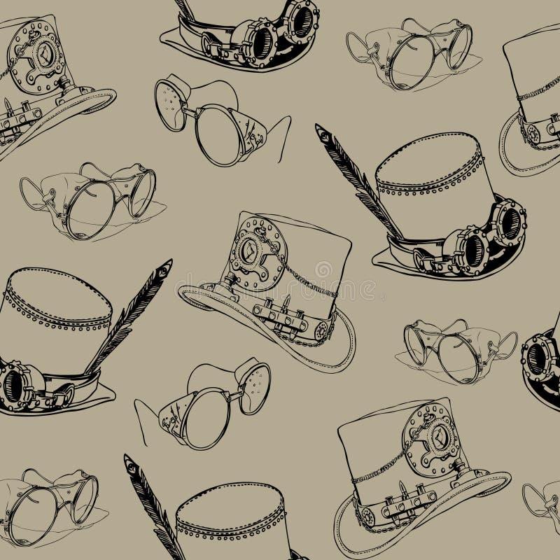 Modelo inconsútil Steampunk con las gafas del sombrero de copa y del latón del steampunk stock de ilustración
