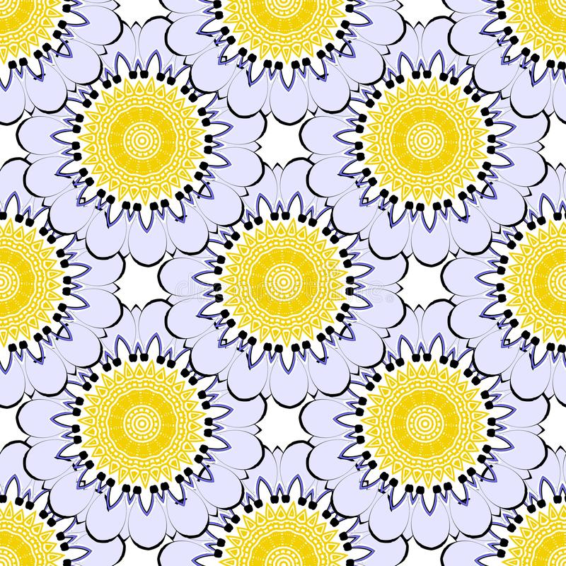 Modelo inconsútil tejado colorido floral del vector redondo de las mandalas Fondo florido de la elegancia ornamental Prospere la  stock de ilustración