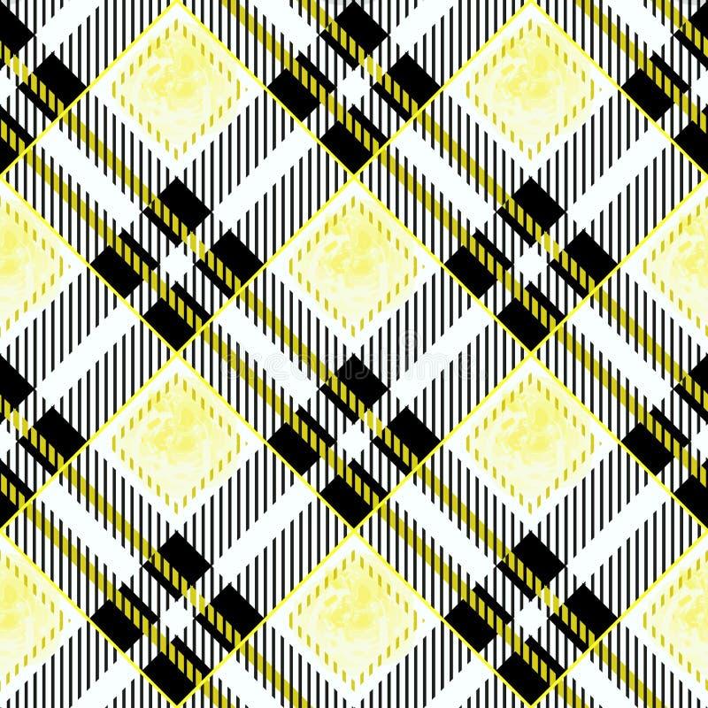 Modelo inconsútil tejido escocés de la tela escocesa de tartán de la acuarela amarilla y negra libre illustration
