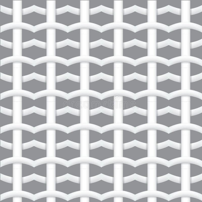 Modelo inconsútil tejido realista de la fibra con las sombras Modelo inconsútil geométrico blanco abstraiga el fondo Vector libre illustration