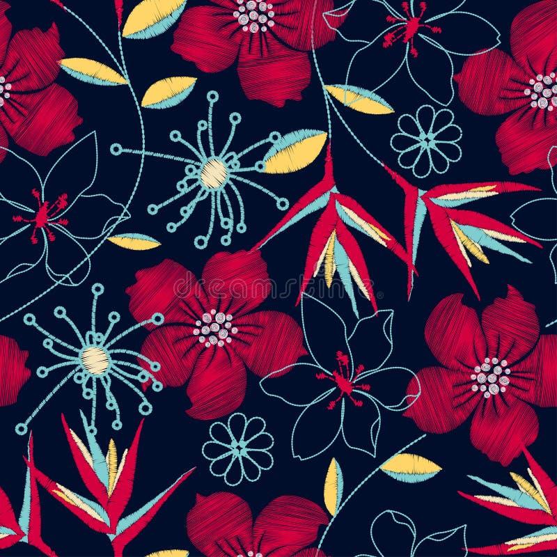 Modelo inconsútil tejido tropical del bordado del hibisco ilustración del vector