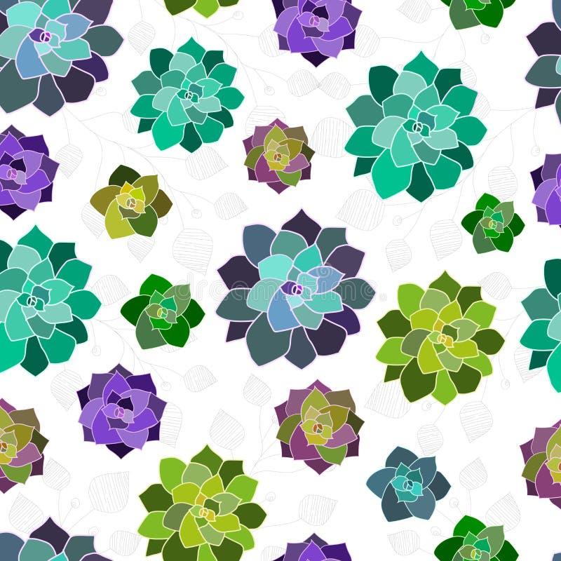 Modelo inconsútil, textura, papel, impresión con los succulents y hojas del vector en el fondo blanco Elementos de moda stock de ilustración
