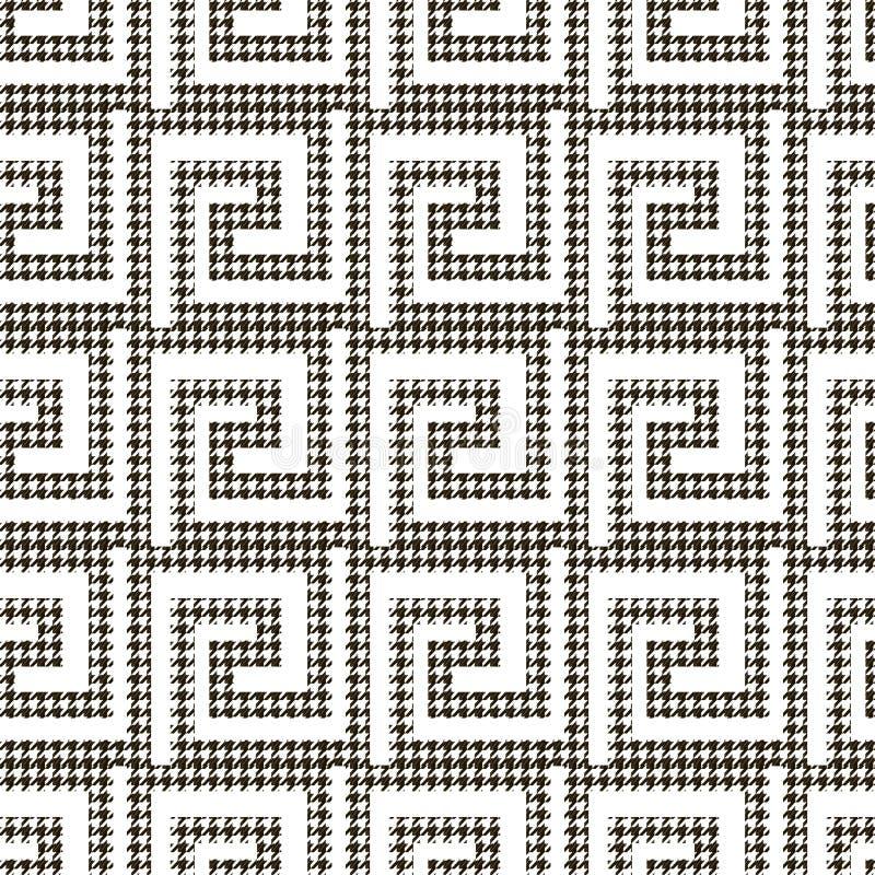 Modelo inconsútil texturizado del houndstooth blanco y negro Fondo ornamental del gteek del vector Ornamentos modernos del diente libre illustration