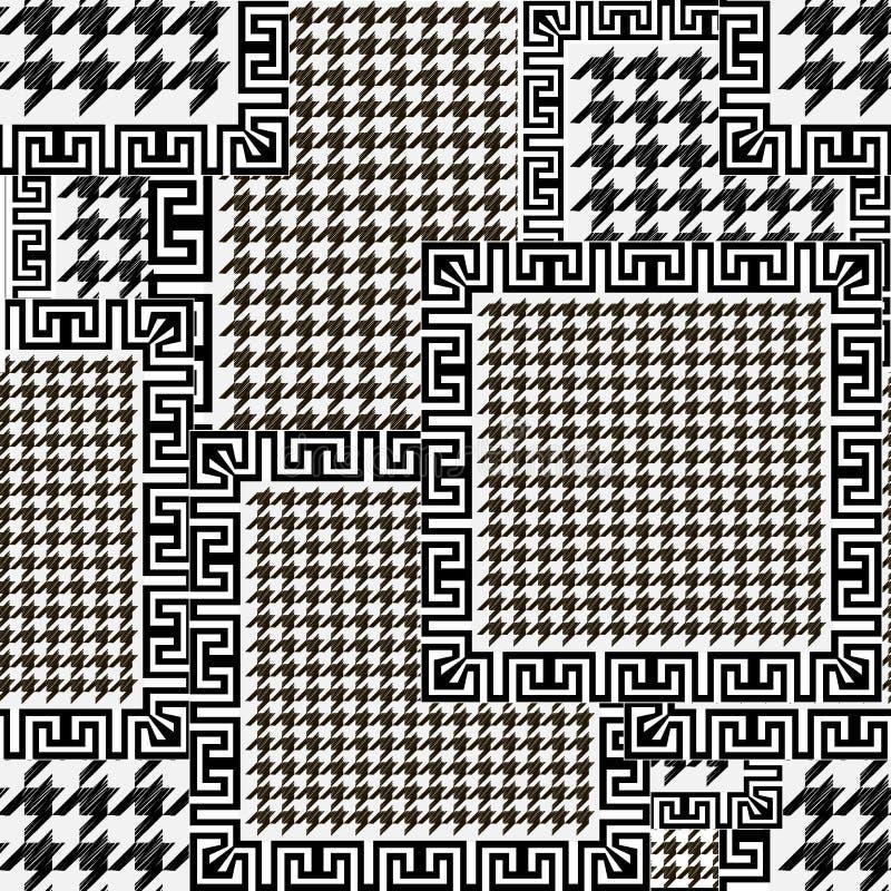 Modelo inconsútil texturizado del houndstooth blanco y negro Fondo ornamental del remiendo del vector Ornamentos modernos del die libre illustration