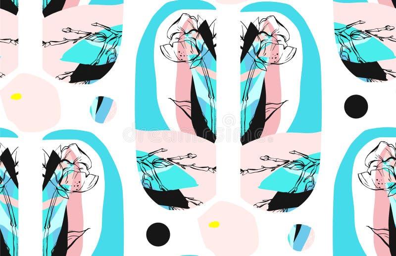 Modelo inconsútil texturizado extracto hecho a mano del collage creativo de moda con adorno floral aislado en el fondo blanco con stock de ilustración