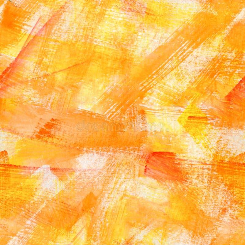 Modelo inconsútil texturizado macro amarillo anaranjado de la acuarela Ejemplo exhausto de la acuarela del grunge de la mano bril foto de archivo