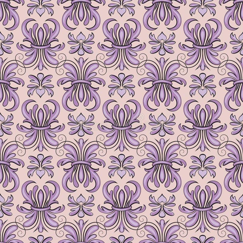 Modelo inconsútil, tracery violeta stock de ilustración