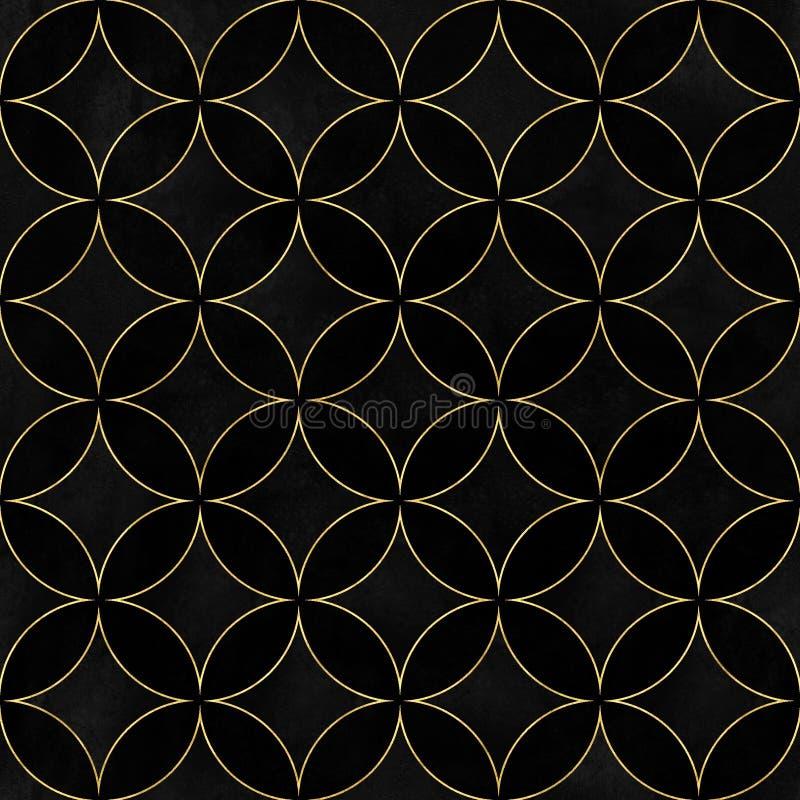Modelo inconsútil traslapado de los círculos del lujo negro del terciopelo ilustración del vector