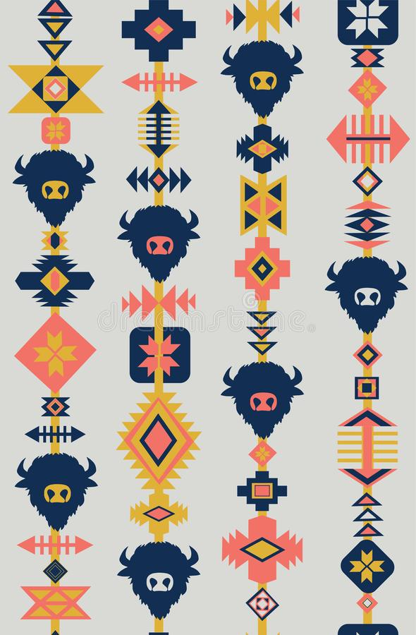 Modelo inconsútil tribal con los cráneos de animales, fondo exhausto del vector de la mano Ornamento étnico decorativo Estilo mod stock de ilustración