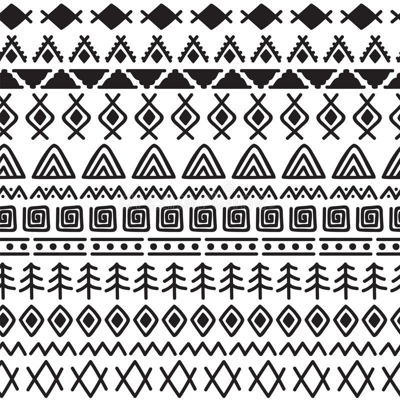 Modelo inconsútil tribal con los elementos del garabato Impresión geométrica abstracta Origen étnico dibujado mano ilustración del vector