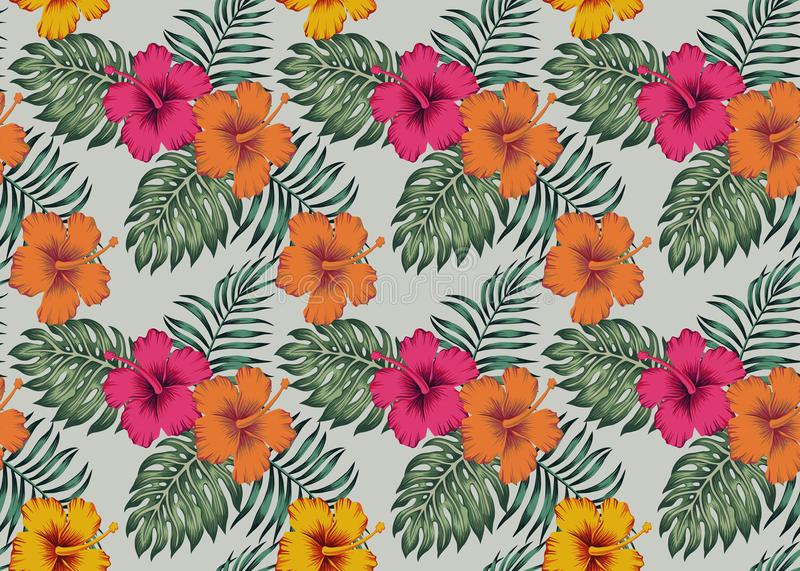 Modelo inconsútil tropical con el monstera le de la palma del hibisco de las flores stock de ilustración