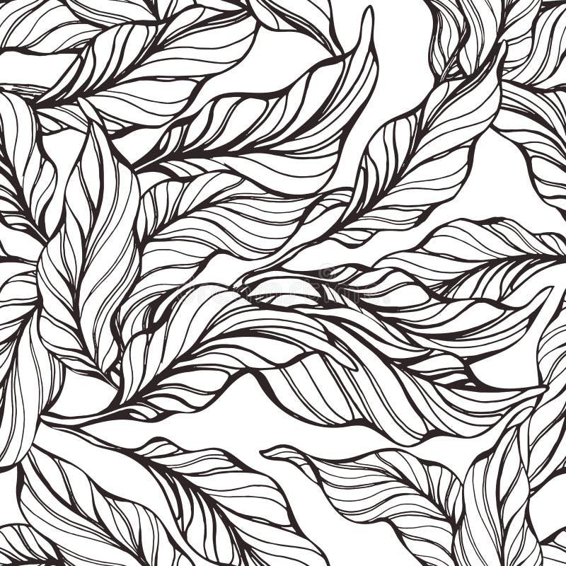 Modelo inconsútil tropical con la hoja de la naturaleza ilustración del vector