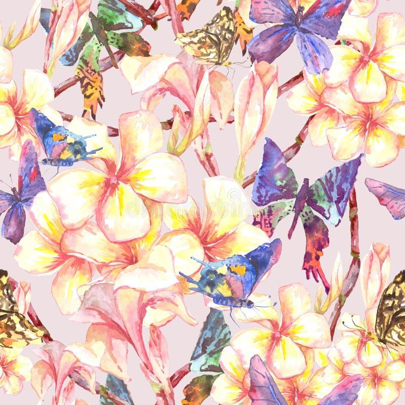 Modelo inconsútil tropical con las flores exóticas ilustración del vector