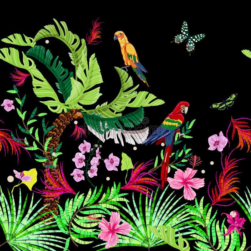 Modelo inconsútil tropical con las flores, las mariposas y los loros El vector hace sonar el follaje para la impresión, tela, b libre illustration