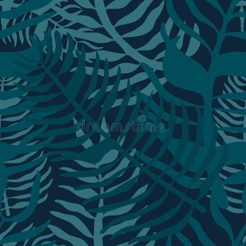 Modelo inconsútil tropical con las hojas de palma Estampado de flores del verano con follaje verde de la palma en fondo oscuro libre illustration