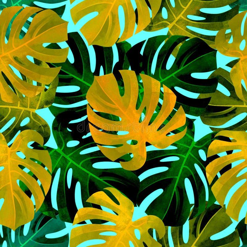 Modelo inconsútil tropical con las hojas del monstera del colorfull Fondo de moda fotos de archivo