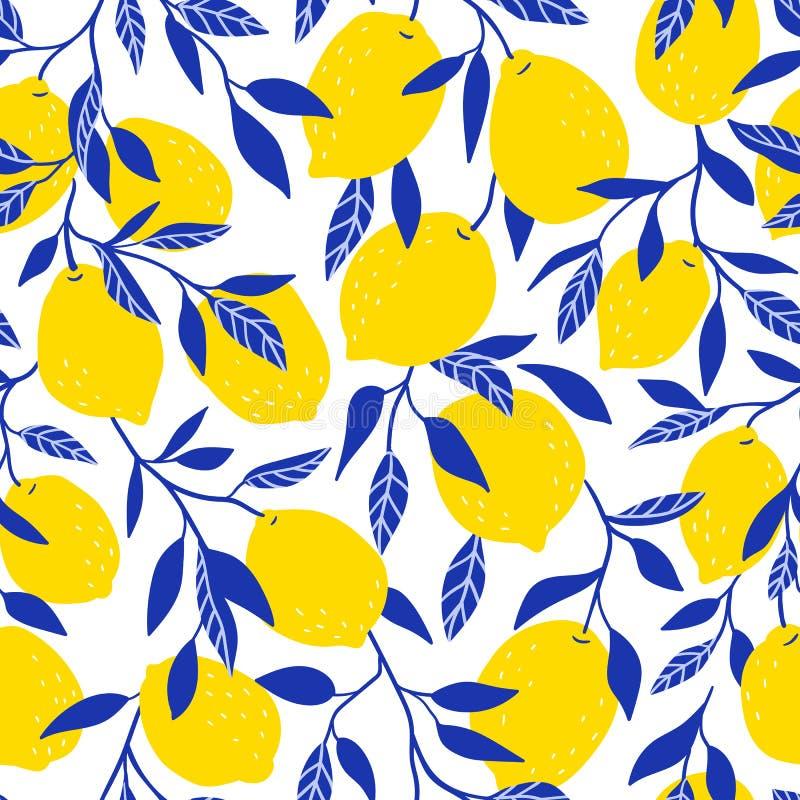 Modelo inconsútil tropical con los limones amarillos Fondo de la fruta Impresión brillante del vector para la tela o el papel pin stock de ilustración