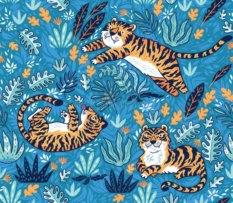 Modelo inconsútil tropical con los tigres divertidos en estilo de la historieta Ilustración del vector ilustración del vector