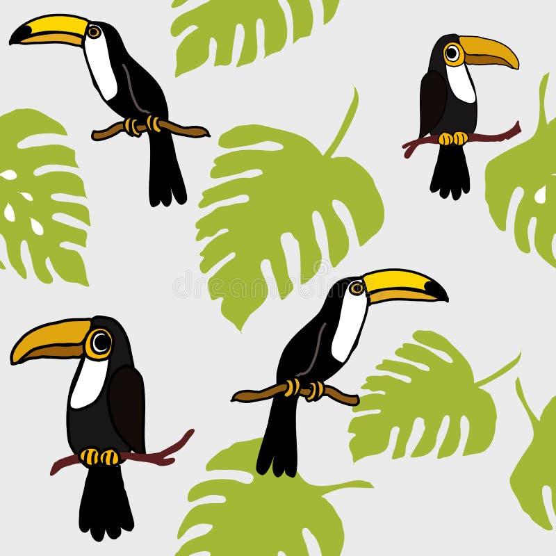 Modelo inconsútil tropical de los pájaros y de los lotos de los tucanes, modelo repetido hojas tropicales exóticas Backround de l ilustración del vector