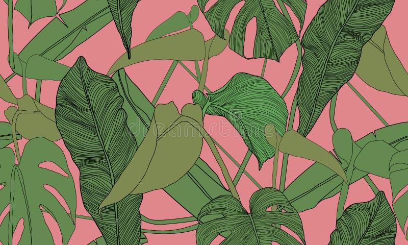 Modelo inconsútil tropical del vector Plantas verdes exóticas en fondo rosado Hojas del plátano y del monstera Impresión dibujada ilustración del vector