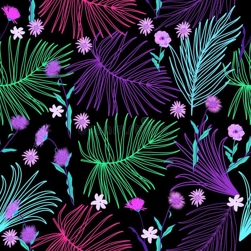Modelo inconsútil tropical en los colores de neón, vec de las hojas y de las flores stock de ilustración