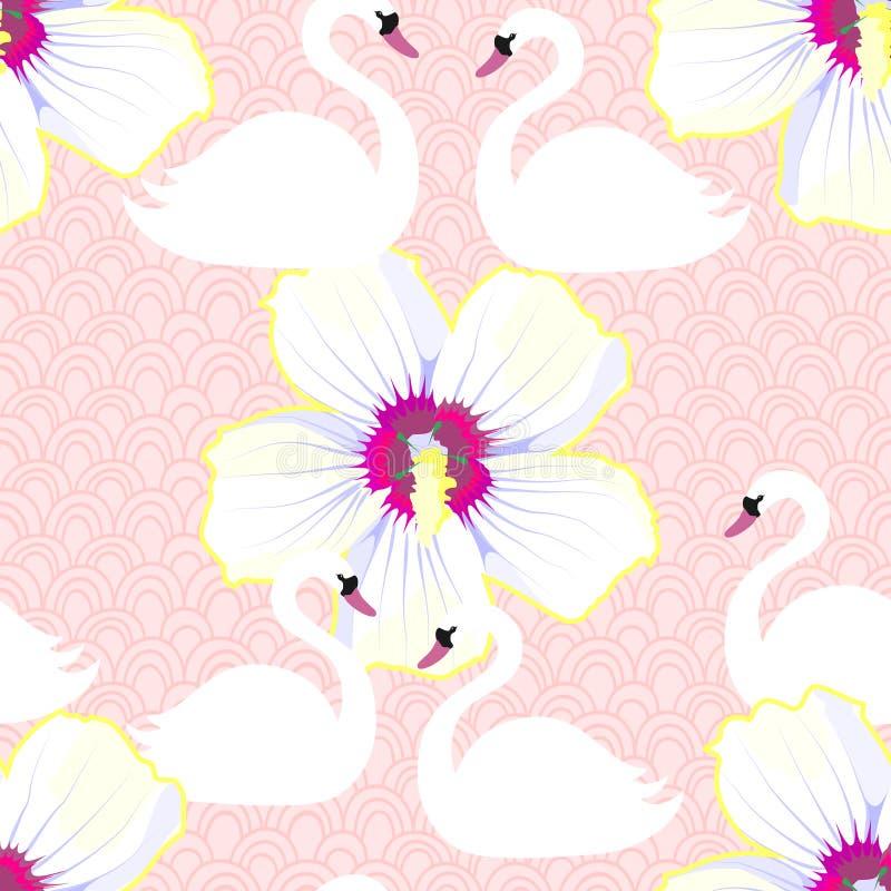 Modelo inconsútil tropical exótico con la flor y los cisnes Vector libre illustration