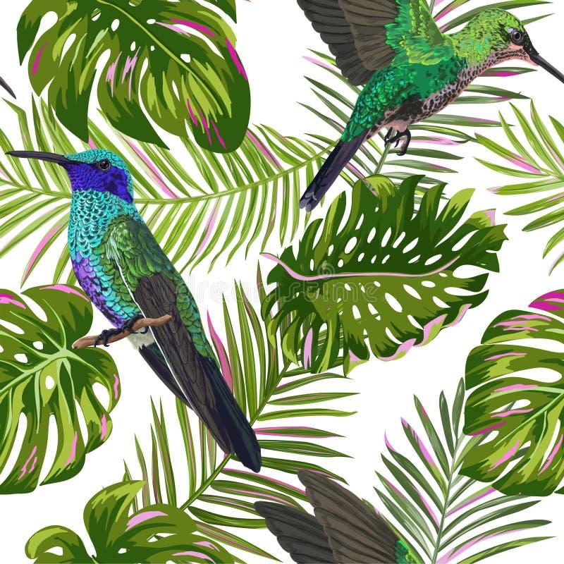 Modelo inconsútil tropical floral con el pájaro del tarareo Pájaros y fondo de las hojas de palma para la tela, papel pintado ilustración del vector