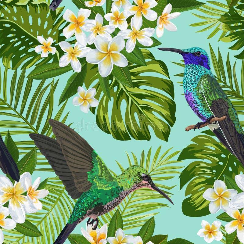 Modelo inconsútil tropical floral con las flores y el pájaro exóticos del tarareo Flores florecientes, pájaros, fondo de las hoja ilustración del vector