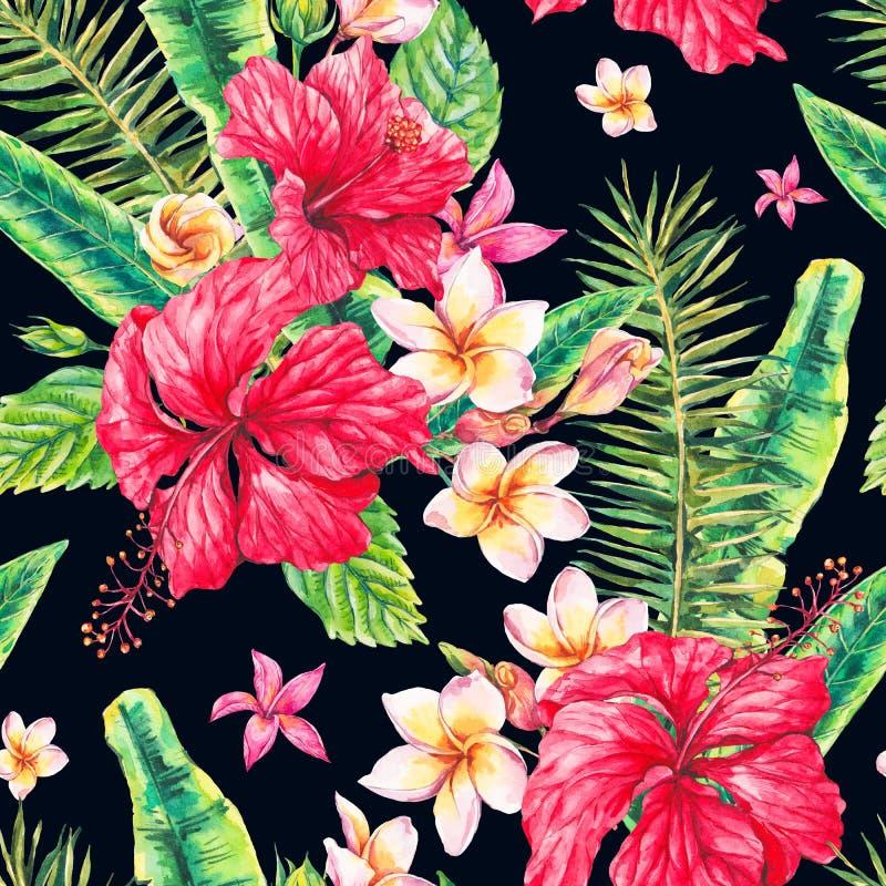 Modelo inconsútil tropical floral del vintage de la acuarela stock de ilustración