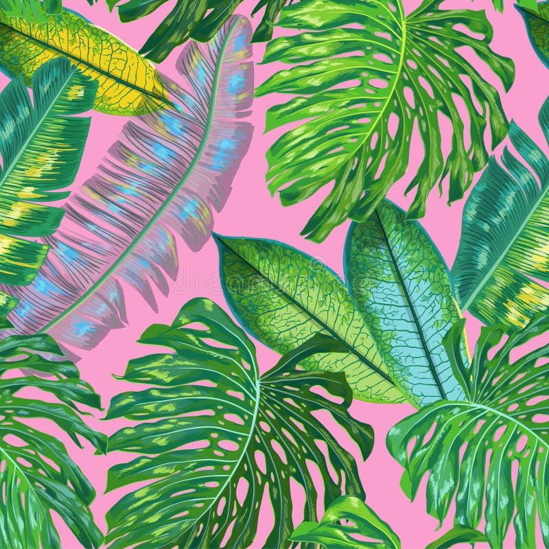 Modelo inconsútil tropical floral Fondo de la acuarela de las hojas de palma para el papel pintado, tela, materia textil, papel d stock de ilustración