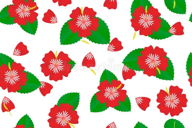 Modelo inconsútil tropical hermoso de las flores rojas del hibisco, del hibisco chino y de las rosas, un símbolo de Malasia, Bung stock de ilustración