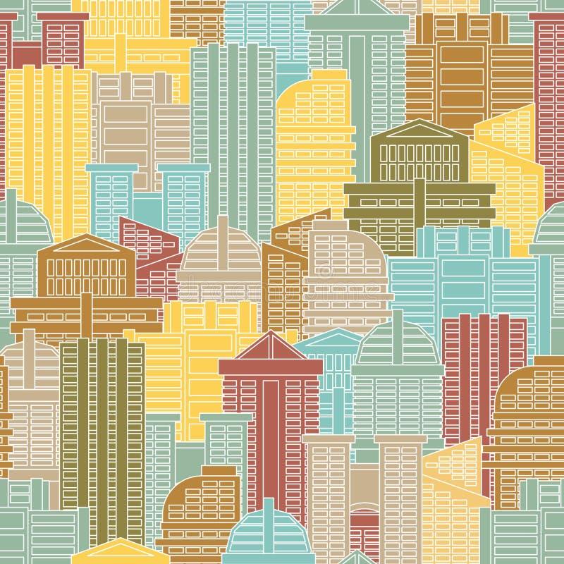 Modelo inconsútil urbano Edificios coloridos en la ciudad, metrópoli ilustración del vector